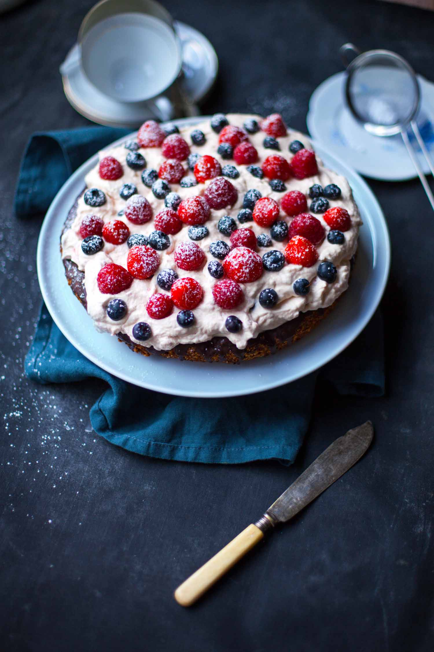 Cake Made with Mixed Nuts, Chocolate and Berry Foam