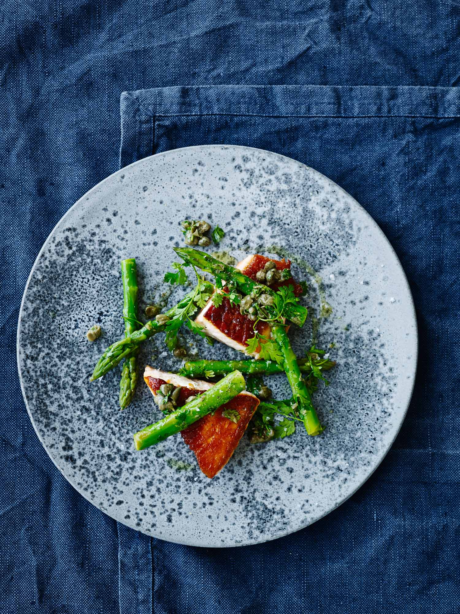 Fried Salmon with Asparagus, Capers, Lemon and Chervil ...