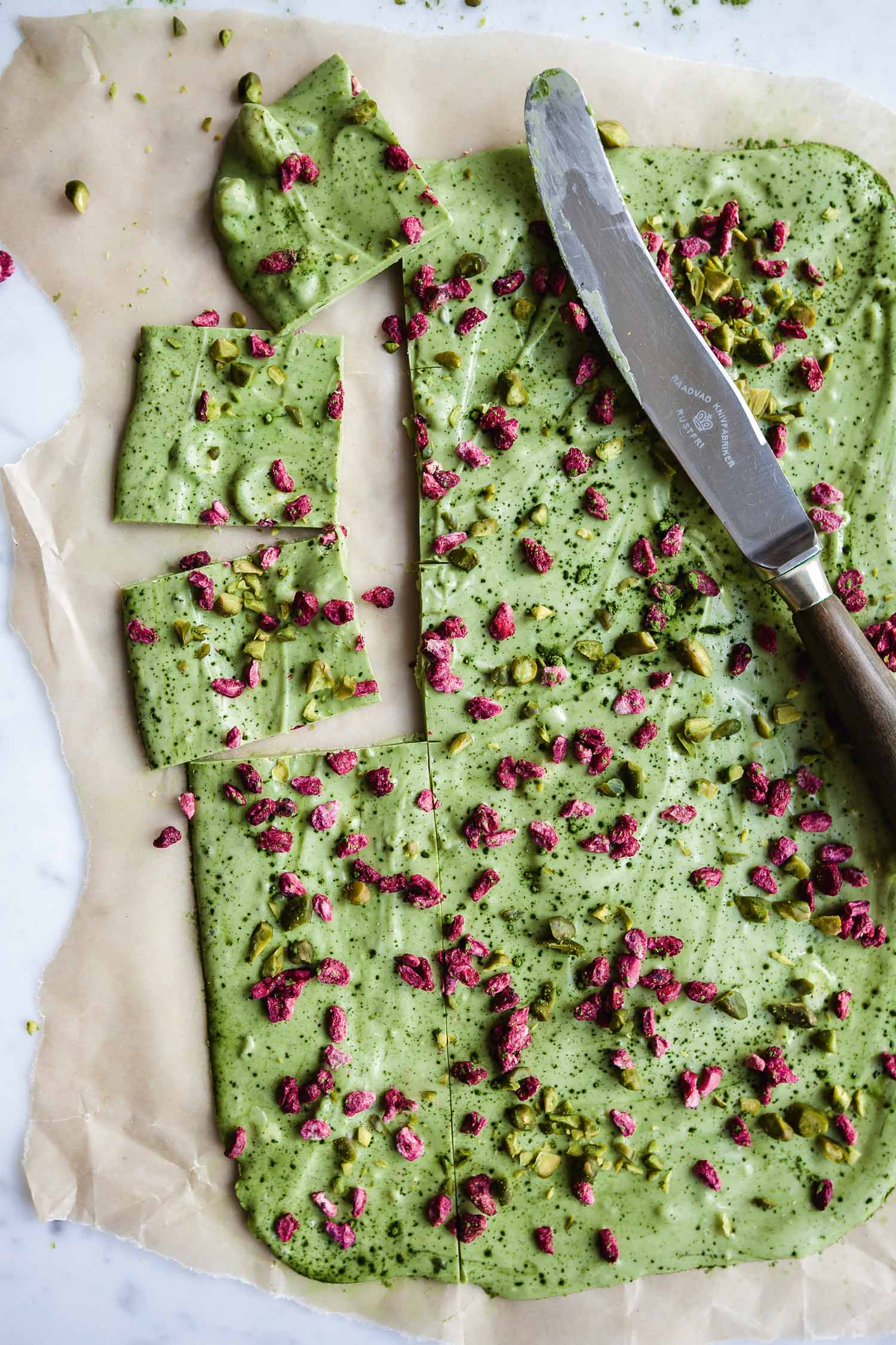 White Chocolate Bark with Matcha Tea, Dried Pomegranate Seeds, and Pistachios