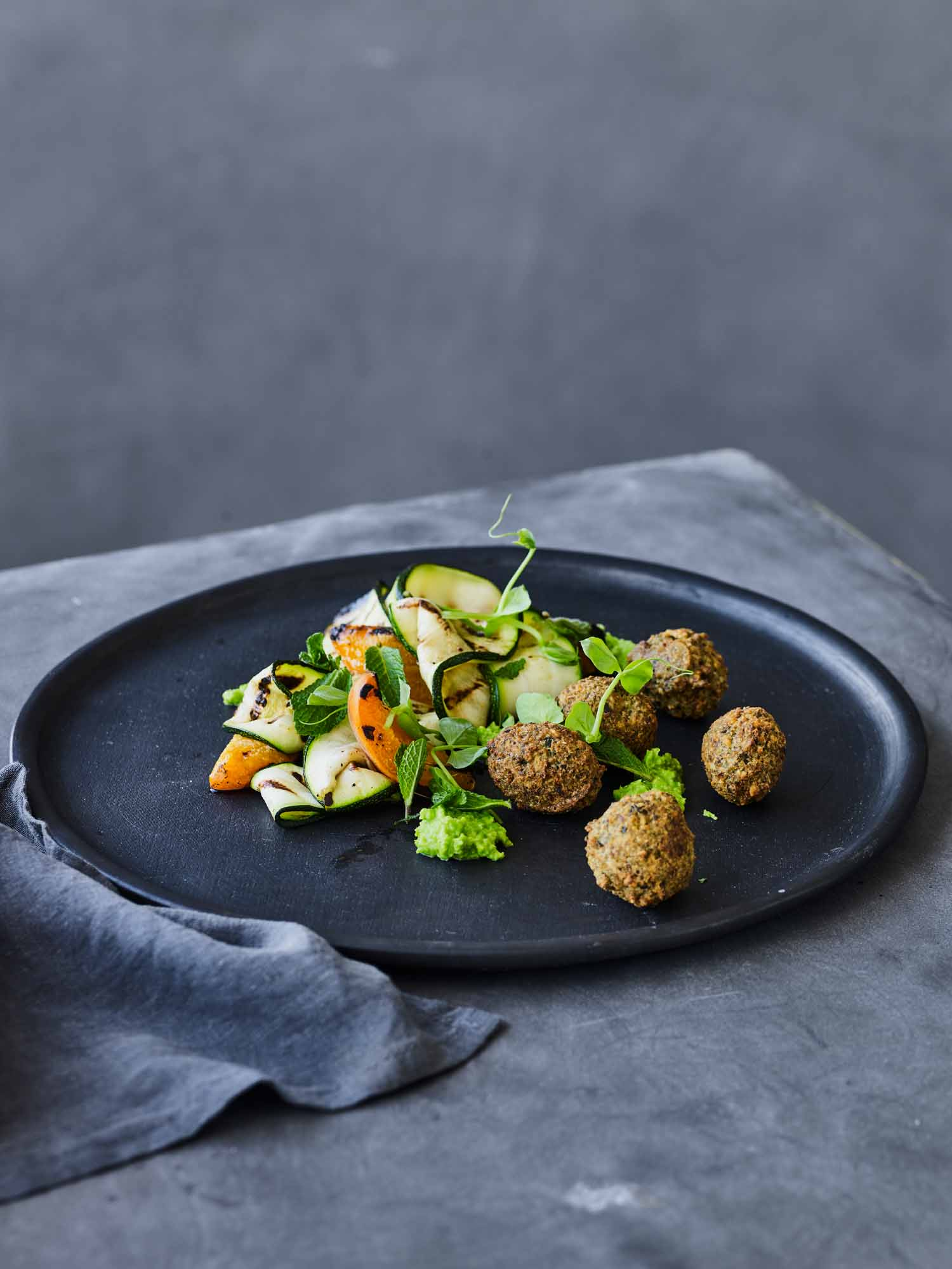 Pea Falafels with Zucchini and Apricots
