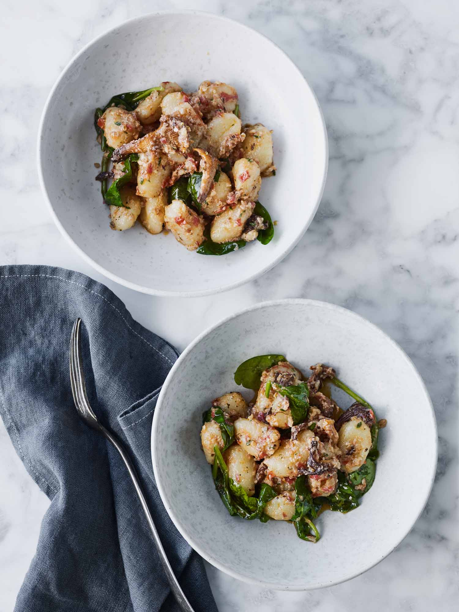 Potato Gnocchi with Walnut Sugo and Chanterelle Mushrooms
