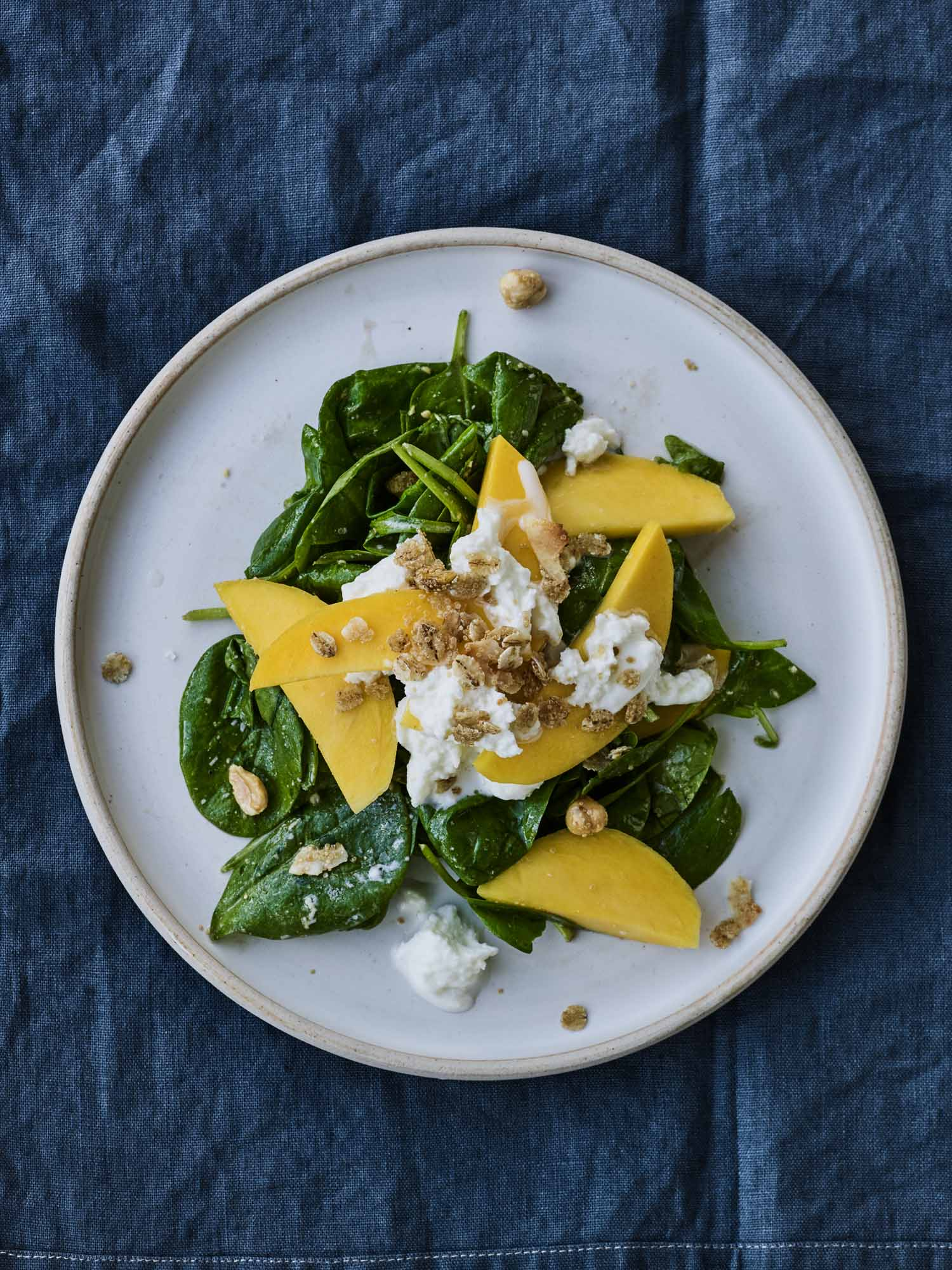 Spinach Salad with Burrata, Mango and Granola