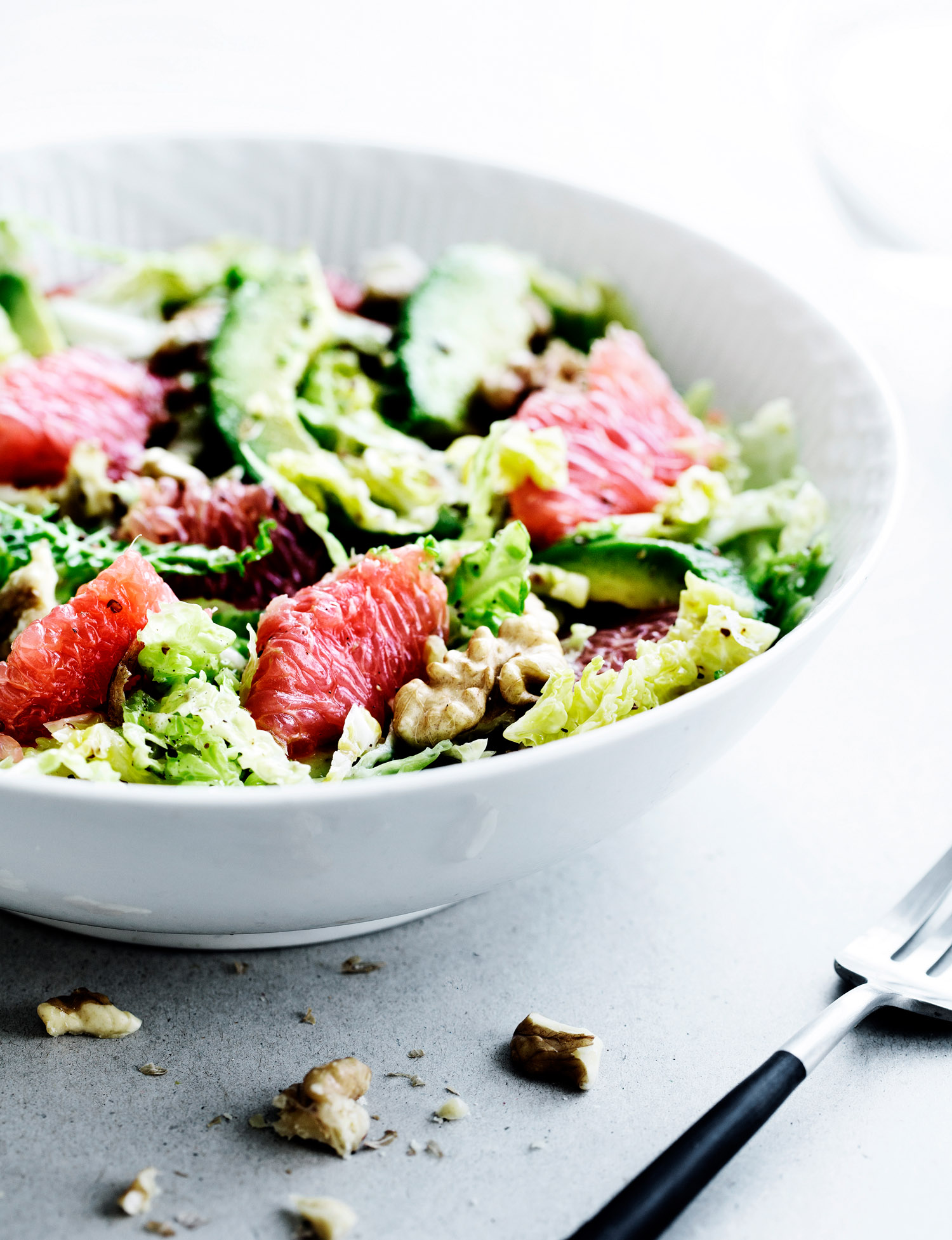 Winter Salad with Savoy Cabbage, Red Grapefruit, and Avocado