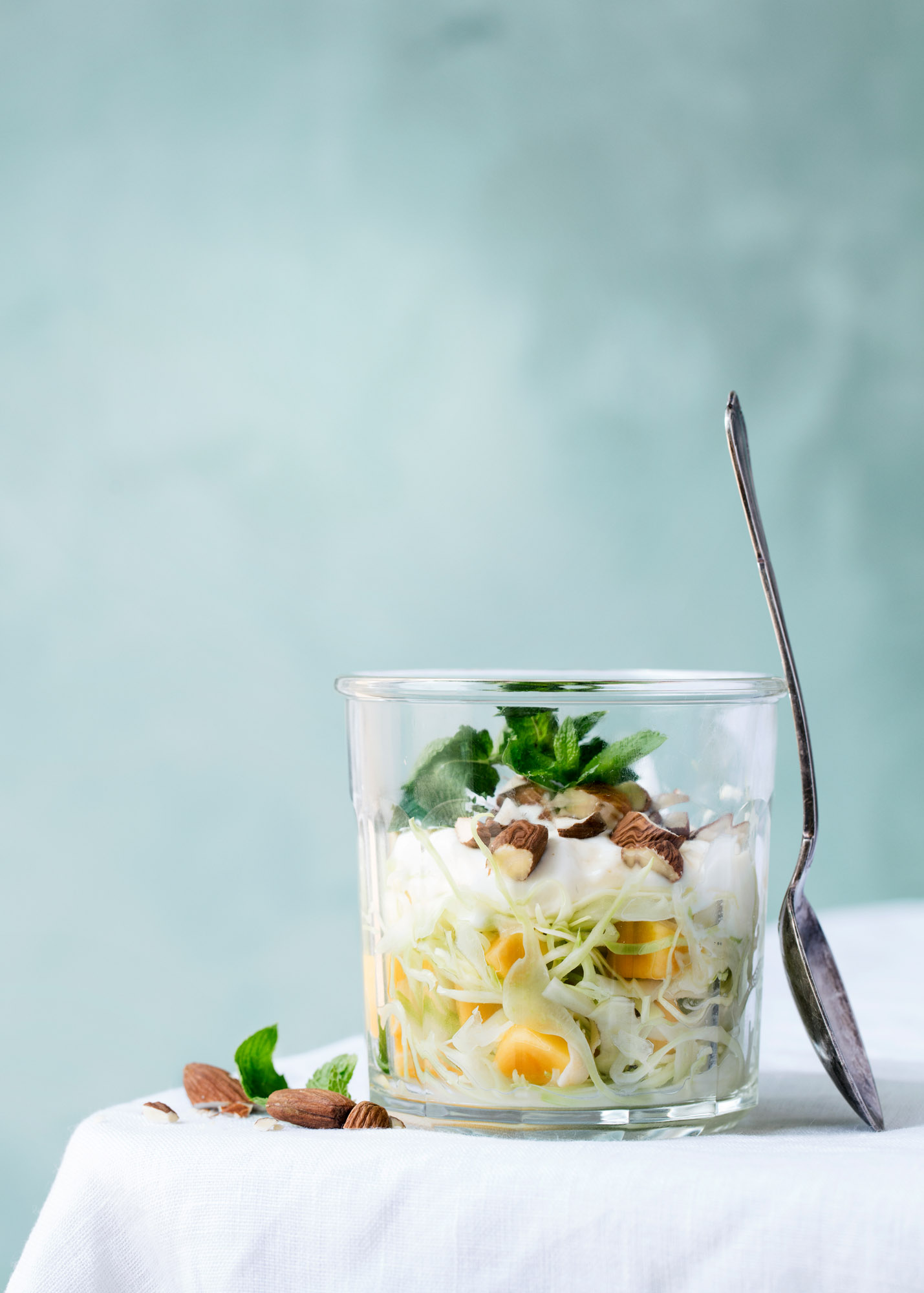 Cabbage with Mango, Skyr, and Almonds