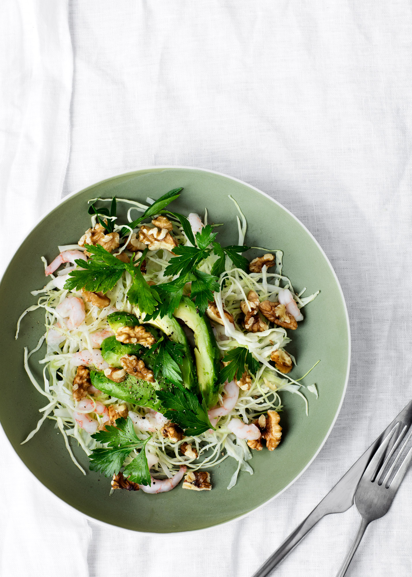 Green Cabbage Salad with Shrimp, Avocado, and Walnuts