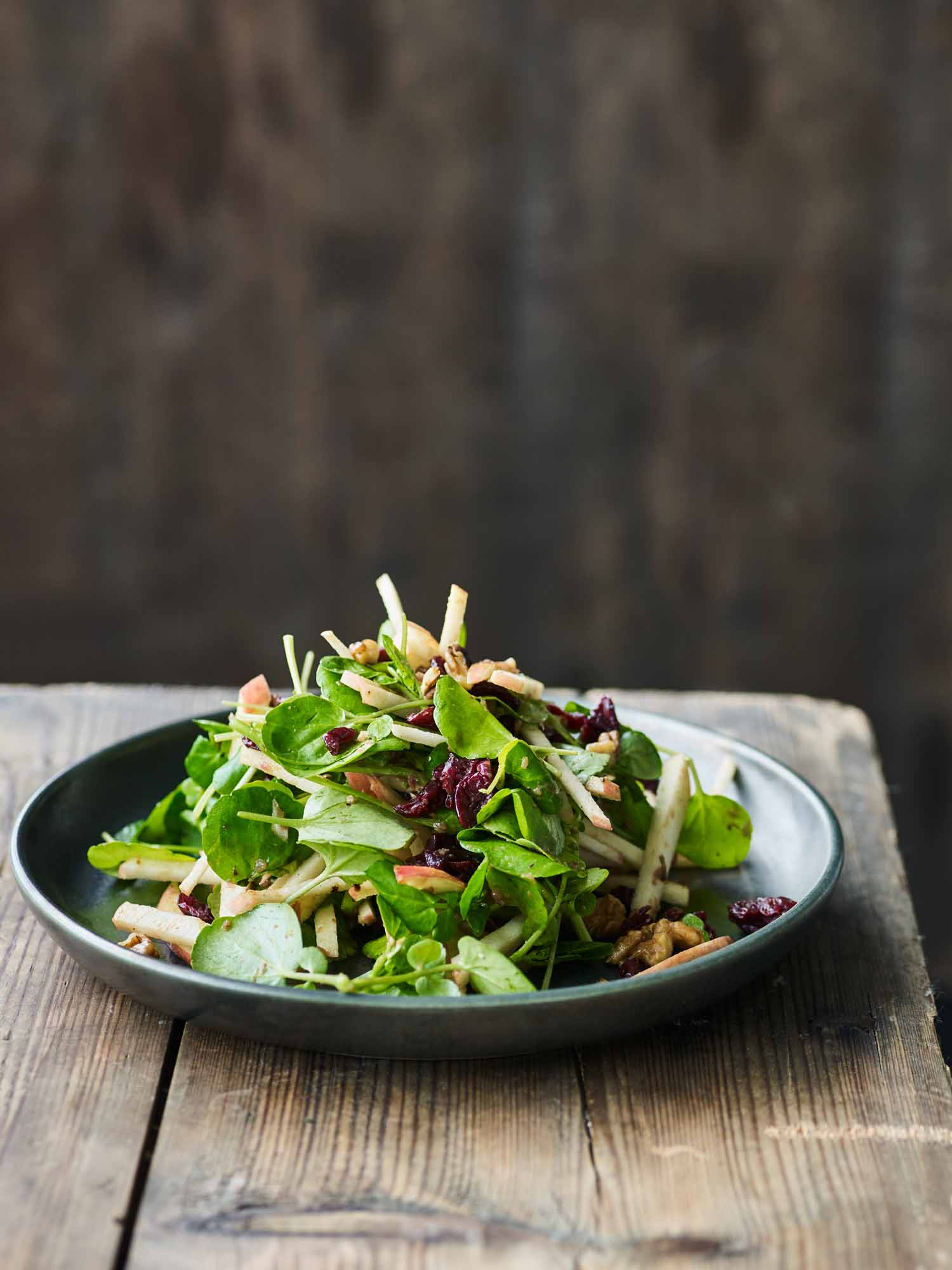 Watercress and Cranberry Salad with Roast Onion Dressing