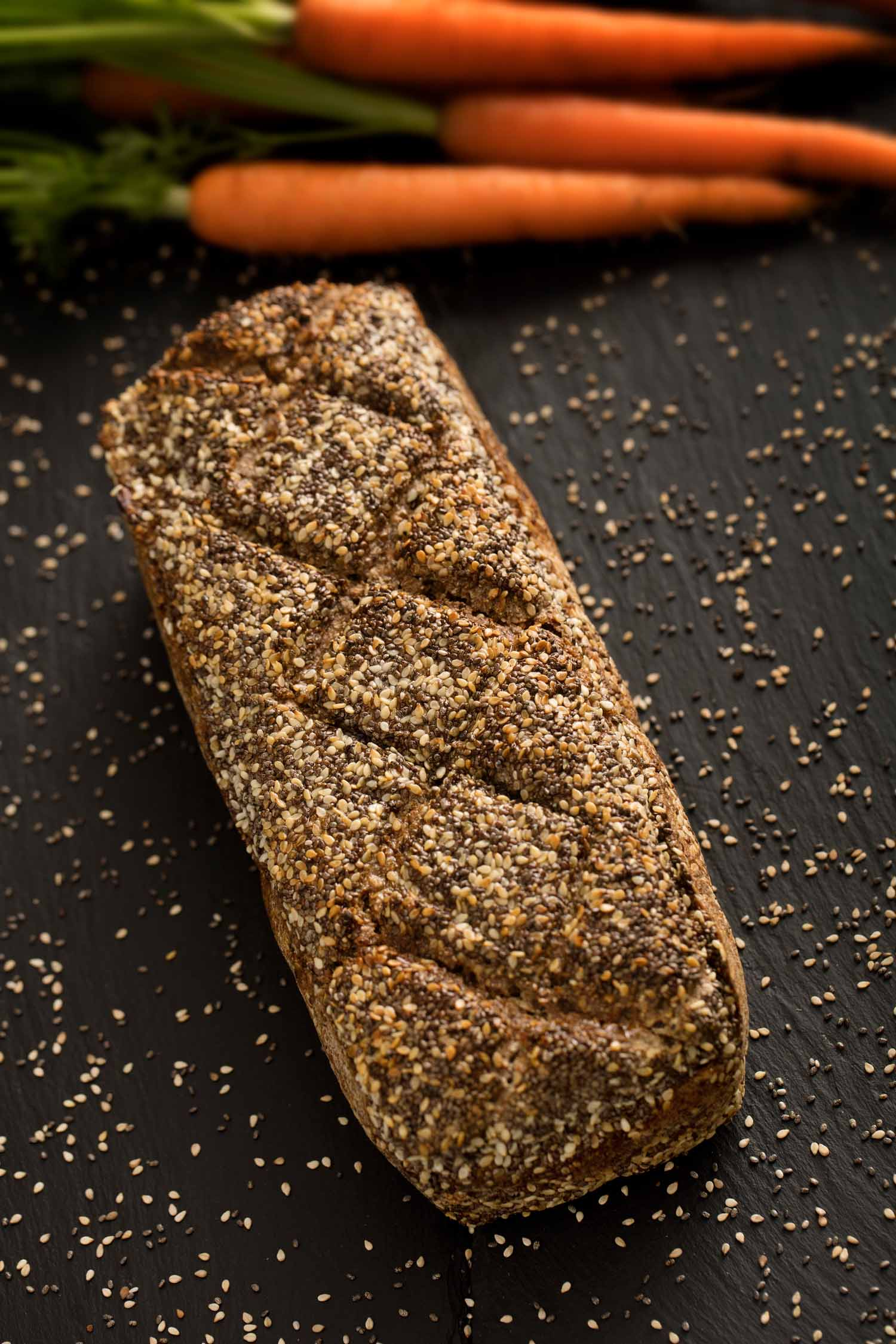 Chia, Sesame, and Carrot Dark Rye Bread