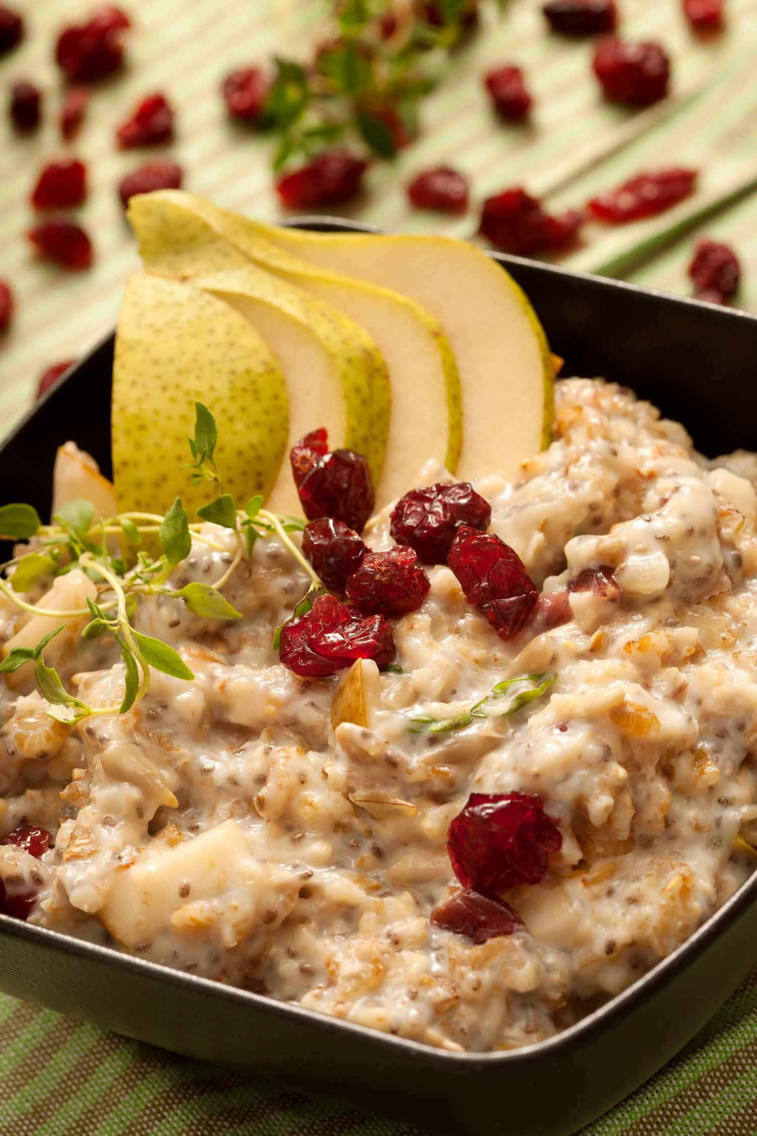 Rye Porridge with Pear, Thyme, and Cranberry