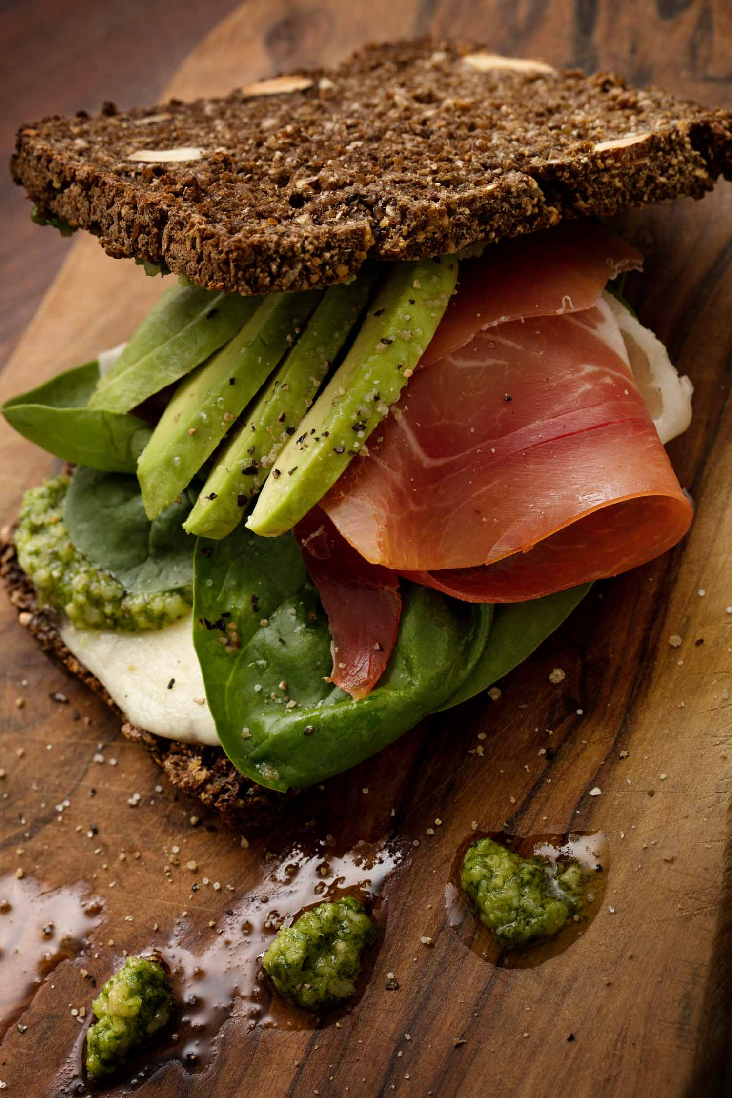 Rye Sandwich with Parma Ham, Pesto, and Goat Cheese