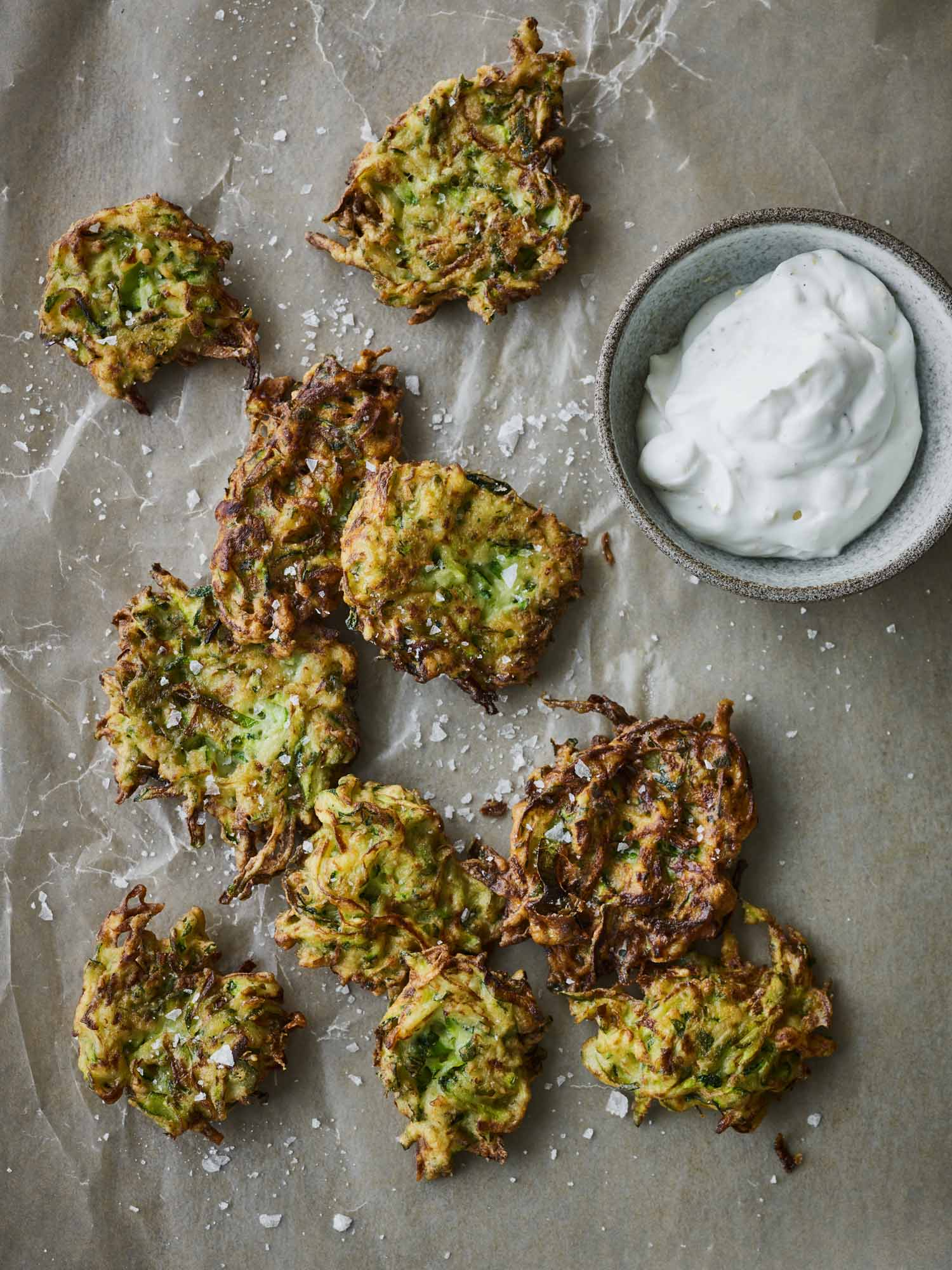 Zucchini Fritters with Greek Yogurt Sauce