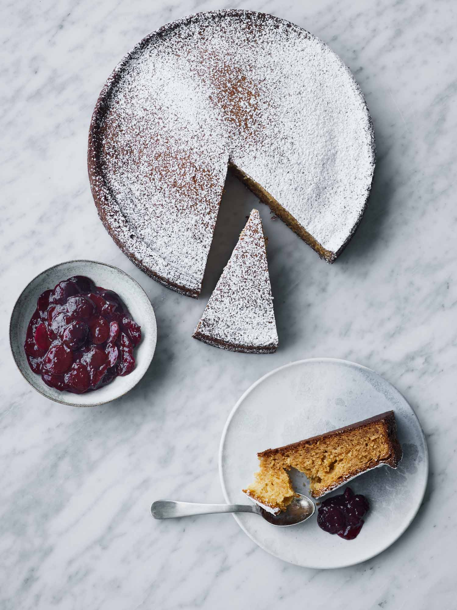 Greek Yogurt Cake with Bourbon Cherries